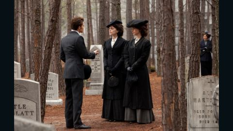"""""""Even though they are more challenging than the contemporary clothes, I enjoy doing the flashbacks most of all,"""" Leverett said. This scene takes place at a funeral for one of Stefan and Damon's relatives in 1912. """"Since we're dealing with vampires and werewolves,"""" Leverett said, """"we go for the coolest, sexiest look that we can get away with for the period. ... We take a little license here and there, (but) everything is still grounded in the reality of whatever time period we are doing."""""""