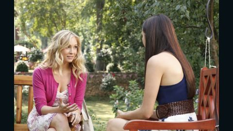 """Accola's character, Caroline, left, was recently turned into a vampire, but she's still """"a cheerleader and head of every event-planning committee at school,"""" Leverett said. """"Even though she might be a blood-sucking supernatural creature, she's still a teenager at heart who wants to look cute while she's battling hybrids or the occasional vampire-hating history teacher."""""""