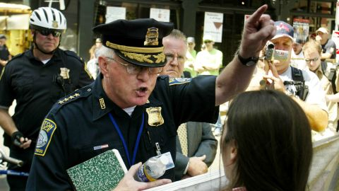 <strong>2004:</strong> The Democratic National Convention held in Boston in 2004 included unprecedented security. Police direct demonstrators toward their permitted protest area -- away from the FleetCenter, where the convention was held.