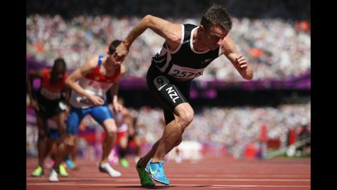 Tim Prendergast of New Zealand competes in the men's 800-meter T13 final on Saturday.