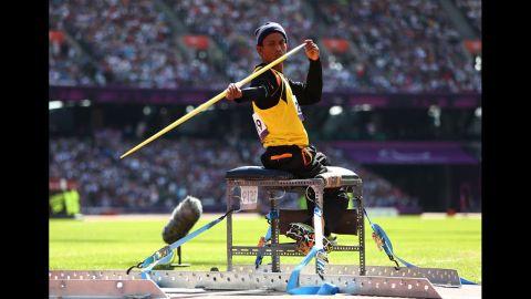 Faridul Bin Masri of Malaysia competes in the men's javelin throw final on Saturday.