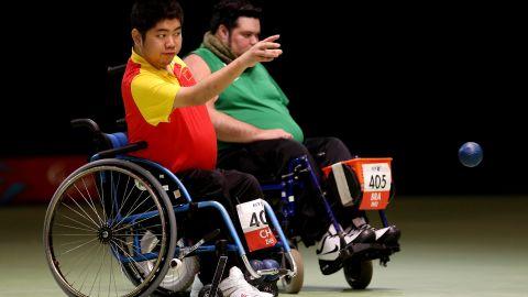 China's Yuansen Zheng tosses the ball during Saturday's Individual BC4 boccia gold medal match against Brazilian Dirceu Jose Pinto.