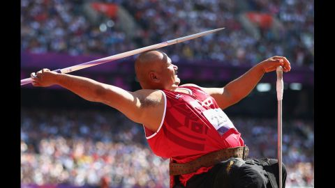 Mexican Luis Alberto Zepeda Felix competes in the men's javelin throw F54/55/56 final on Saturday.