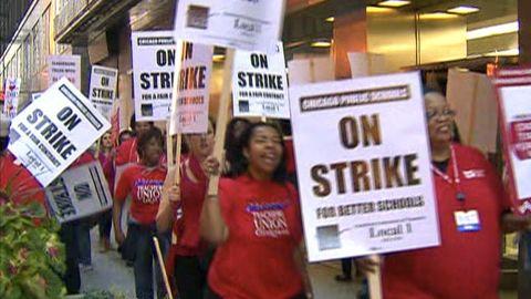 Teachers on strike in Chicago on Monday, September 10.