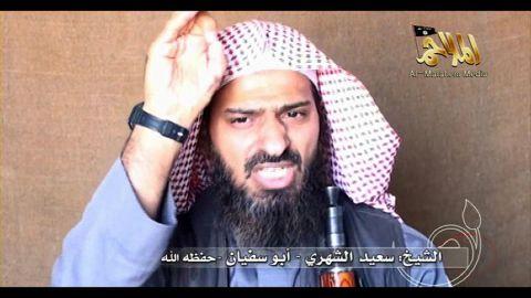A screen shot of a video shows Al-Qaeda's Said al-Shihri on October 6, 2010.