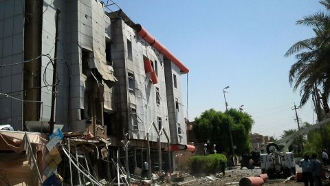 A picture shows damage after a bomb blast in Nasiriya, 305 km (190 miles) south of Baghdad on Sunday.