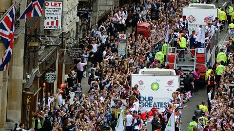A rear view of one of the floats as it passes along Fleet Street, London.