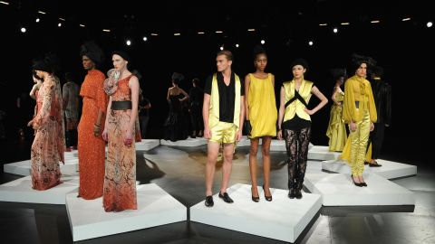 Many designers opt for presentations during Fashion Week instead of the conventional runway show. Here, models pose at the David Tlale Sun presentation.