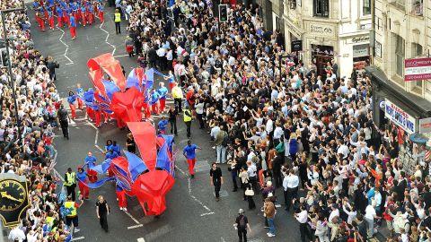 The Victory Parade progresses along Fleet Street, London.
