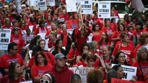 Thousands of Chicago teachers and their supporters take to the streets on Monday after contract negotiations broke down.