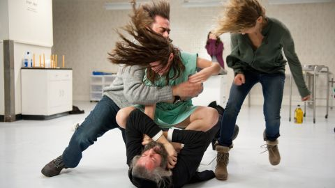 "Matisyahu, Jeffrey Dean Morgan, Natasha Calis and Kyra Sedgwick mix it up in""The Possession."""