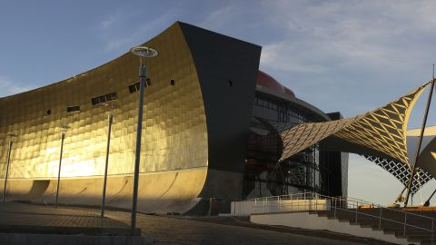 The Soweto theater in South Africa was designed by Afritects. The external and internal walls are sloped and curved for functionality as the service spaces on the upper floors required more space than the public ablutions on the ground floor.
