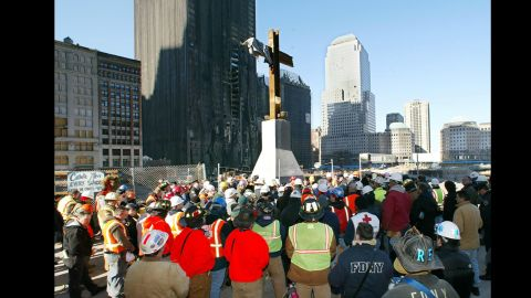 """The makeshift steel cross at """"Ground Zero"""" was the subject of a lawsuit.TIMOTHY A. CLARY/AFP/Getty Images)"""