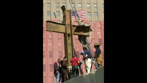Jordan, second from left, blesses the cross on October 4, 2001.