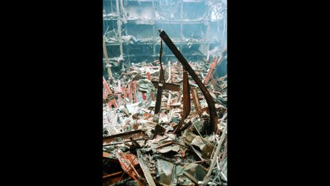 This image released by the U.S. Customs Service shows the cross as it was found amid the World Trade Center rubble days after the attacks.