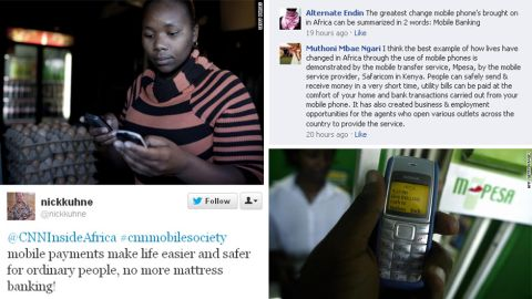 Using the hashtag #cnnmobilesociety, we asked Facebook and Twitter users how mobile phones have changed lives in Africa. The Kenyan money service M-Pesa was a popular response. The M stands for mobile while Pesa means money in Swahili. The service enables users to transfer money quickly using text messaging.