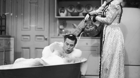 """Ricky Ricardo (Desi Arnaz) spent the better part of CBS' long-running """"I Love Lucy"""" scolding his mischievous onscreen wife, played by Lucille Ball. Arnaz and Ball were <a href=""""http://www.people.com/people/archive/article/0,,20114475,00.html"""" target=""""_blank"""" target=""""_blank"""">married for 20 years</a> and had two children together before divorcing in 1960."""