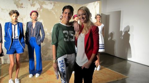 """""""Man Repeller"""" Leandra Medine, left, poses with Marie Claire's Zanna Roberts-Rassi at Fashion Week."""