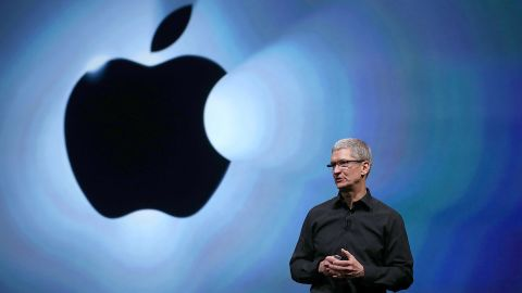 Apple CEO Tim Cook speaks during the event.