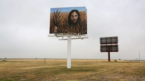"""A billboard, """"Jesus in the Wheat,"""" stands alongside Interstate 70 on August 24 in Colby, Kansas. The billboard was erected by local residents Tuffy and Linda Taylor. """"We just put it up there to minister,"""" Linda Taylor told the Hays Daily News."""