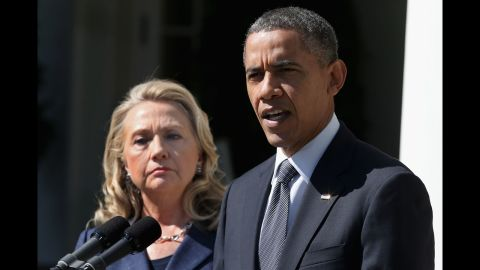 U.S. President Barack Obama, with Secretary of State Hillary Clinton on September 12, makes a statement at the White House about Stevens' death.