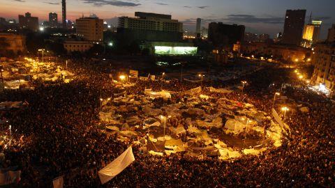 Demonstrators crowd Cairo's Tahrir Square on February 10, 2011 calling for the ouster of then president Hosni Mubarak.