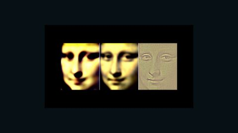 """This is a simulation by Margaret Livingstone of what you perceive when you view the """"Mona Lisa"""" in your peripheral vision, on the left and middle, and straight-on. Note how the smile changes."""