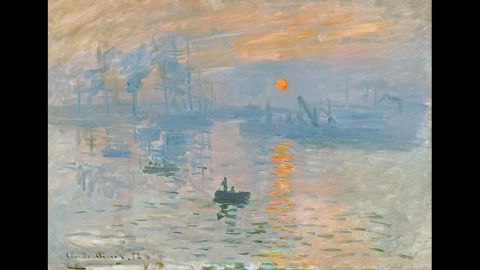 """In """"Impression Sunrise"""" by Claude Monet, circa 1873, the artist makes the sun look unusually bright by choosing an orange with the same luminance as the background, says Margaret Livingstone of Harvard University."""