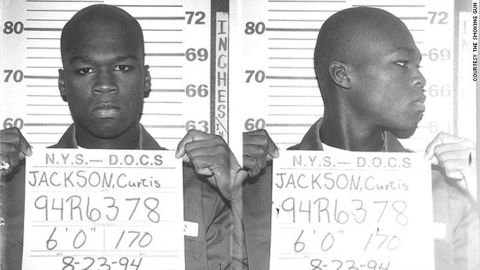 Curtis Jackson, aka 50 Cent, posed for this mug shot in 1994 when he was arrested at 19 for allegedly dealing heroin and crack cocaine.