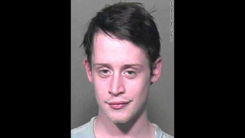 """The Oklahoma County, Oklahoma, Sheriff's office took this mug shot of """"Home Alone"""" star Macaulay Culkin in 2004 after they found marijuana, Xanax and sleeping pills in his possession. He was briefly jailed before being released on bail."""
