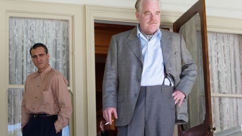 """Joaquin Phoenix stars as Freddie Sutton and Philip Seymour Hoffman stars as Lancaster Dodd in """"The Master."""""""