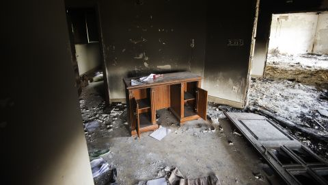 A desk sits inside the burnt U.S. mission on September 13, two days after the attack.
