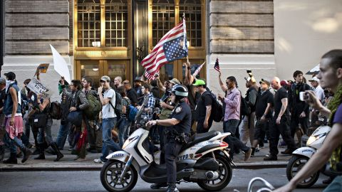 Members of Occupy Wall Street march from Washington Square Park to New York's financial district on Saturday.