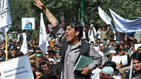 An Afghan youth shouts slogans during an anti-U.S. protest in Kabul, Afghanistan, on Sunday.
