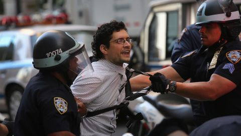 A protester is arrested during the one-year anniversary of the Occupy Wall Street movement on Monday.