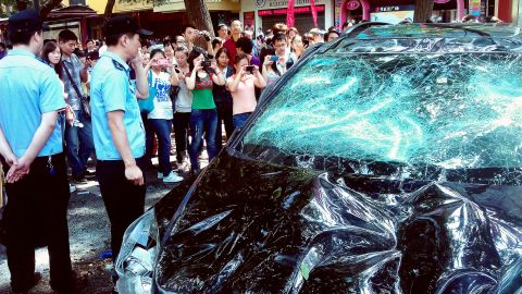 Demonstrators showed their discontent by targeting imports from Japan, including this Japanese car damaged in Xi'an, northwest China's Shaanxi province.