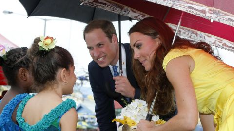 Prince William, Duke of Cambridge and Catherine, Duchess of Cambridge meet young well-wishers during a visit to the Coast Watcher and Solomon Scouts Memorial on day 7 of their Diamond Jubilee Tour in Honiara, Solomon Islands on Monday.