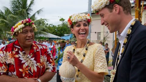 William and Kate drink coconut milk from a tree planted by the Queen in 1982 on September 18, 2012 in Tuvalu.