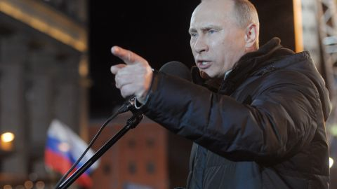 Russia's President Vladimir Putin addresses supporters in Manezhnaya Square on election night, March 4, 2012.