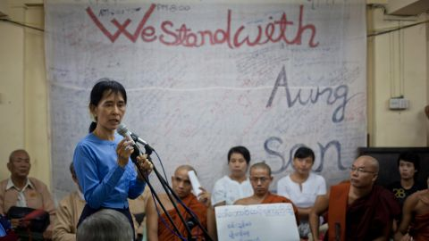 Suu Kyi speaks in Yangon in December 2010, a month after being released from house arrest. She had spent 15 of the previous 21 years under house arrest.