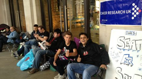 Alexandre Marchetti walked by the Apple store in London's Covent Garden on Thursday and shot this photo of two guys offering a seat for sale at the front of the iPhone 5 line to raise money for cancer research. It's going for 600 pounds, or nearly $1,000 U.S. dollars.