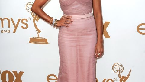 Rashida Jones donned a strapless blush number 2011.