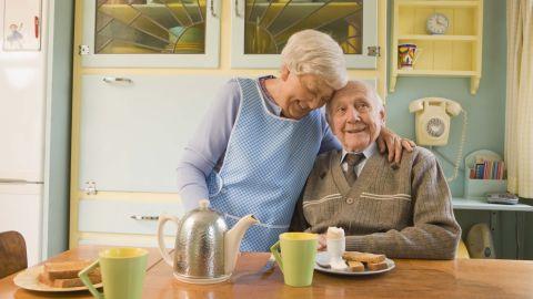 older couple coffee
