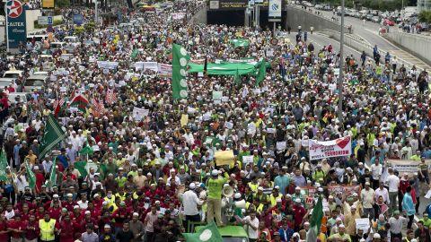 Malaysian Muslim demonstrators march toward the U.S. Embassy after a Friday mass prayer in Kuala Lumpur.