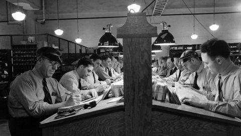 A peek inside a Washington post office in 1942.