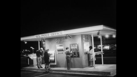 A 24-hour automated post office in Maryland provides self-service in 1964.