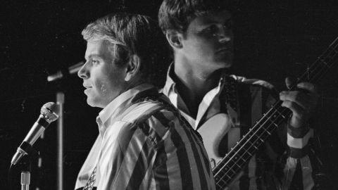 Al Jardine, left, and Bruce Johnston in concert at the Finsbury Astoria in London, November 1966.