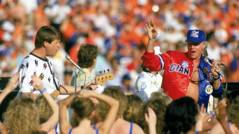 The Beach Boys perform during the pregame festivities before the New York Giants take on the Denver Broncos in the 1987 Super Bowl at the Rose Bowl in Pasadena, California.
