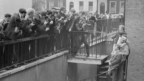 The Beach Boys meet members of the press the day after a concert at the Finsbury Astoria in London, November 1966.