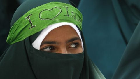 A Kashmiri Muslim student participates in a protest march organized by a Muslim school on Saturday, September 22, against an independently produced anti-Islam film that has ignited anger in the Muslim world.